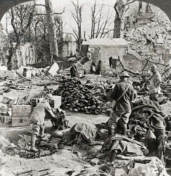 WORLD WAR I: AISNE, 1917 Supplies left by the Germans at Soupier, France, following their defeat at the Second Battle of the Aisne. Stereograph, 1917.