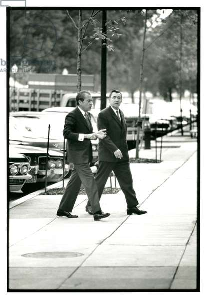 President Nixon and Soviet Foreign Minster Andrei Gromyko in conversation en route to the White House, 22nd October 1970 (b/w photo)