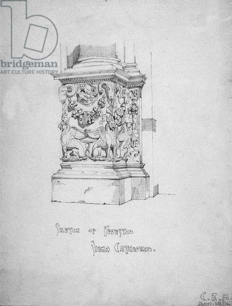 Sketch of Pedestal, Siena Cathedral, 1891 (pencil on paper)