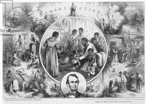 EMANCIPATION PROCLAMATION Thomas Nast's celebration of the emancipation of Southern slaves with the end of the Civil War. Wood engraving, 1865, after Thomas Nast.
