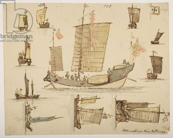 120 Boats 'between Limpo River & Chusan.', from an Album of 372 drawings of landscapes, coastlines, costumes and everyday life made during Lord Macartney's embassy to the Emperor of China, between 1792 and 1794 (pencil & w/c on paper)