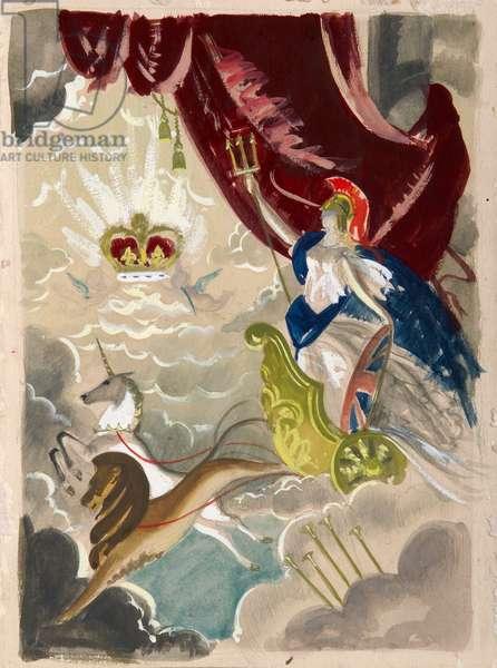 Britannia - –Design for the Coronation of Elizabeth II, 1953 (w/c on paper)