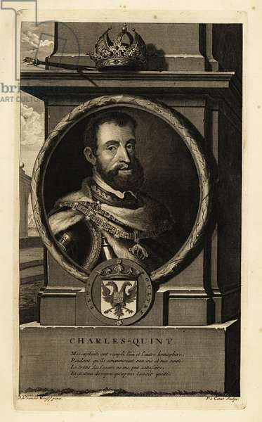 Portrait of King Charles V, Holy Roman Emperor, in armour breastplate with order of the Golden Fleece decoration, crown, sceptre and coat of arms. Charles-Quint. Copperplate engraving by Pieter Stevens van Gunst after Adriaen van der Werff from Isaac de Larrey's Histoire d'Angleterre, d'Ecosse et d'Irlande, Reinier Leers, Rotterdam, 1713.