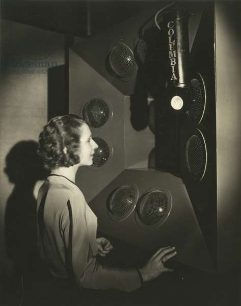 Before Television Camera, Sandra Phillips over the ether in Television & Radio, C.B.S. Earliest telecasting, New York, USA, c.1920-38 (gelatin silver photo)