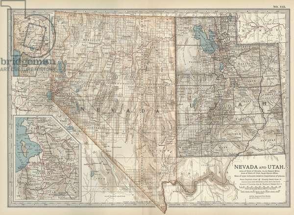Map of Nevada and Utah