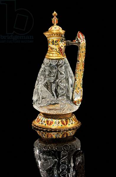 Fatimid ewer, Egypt, 975-1025, mounted by Jean-Valentin Morel, Sevres, 1854 (rock crystal, gold & enamel) (see also 1208385)