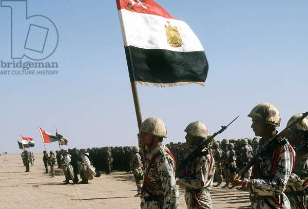 Egyptian troops stand for review by King Fahd of Saudi Arabia as part of international coalition forces united against Iraq during Operational Desert Storm. March 8 1991