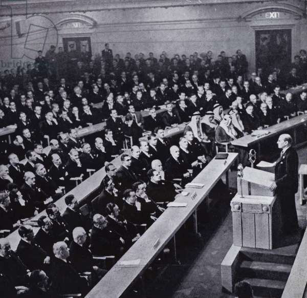 British Prime Minister Clement Attlee addressing the first session of the General Assembly of the United Nations, Methodist Hall, London, January 1946 (b/w photo)