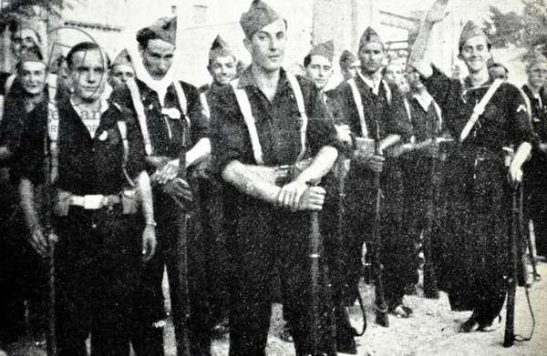 Spanish Civil War: Falangist militia in Zaragoza 1937