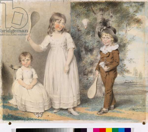 The children of Frederick and Ellen Ray of Abingdon, Berkshire, in a landscape, 1795 (w/c with pencil on paper)