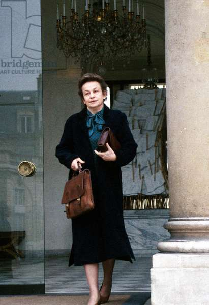 Huguette Bouchardeau, French Minister of Environment, Leaving Elysee Palace on February 5, 1986 (photo)