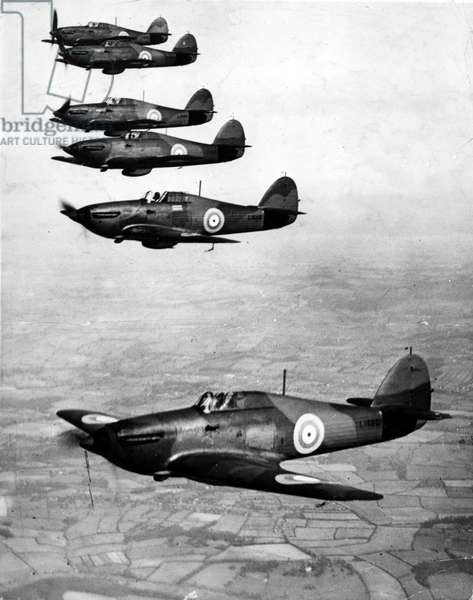 World War II - Battle of Britain - Picture shows a group of Hawker Hurricanes fighter planes flying in formation, c. 1940s (b/w photo)
