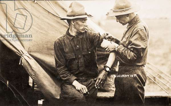 American Soldier Vaccination in the Field, WWI, 1915-18 (postcard)