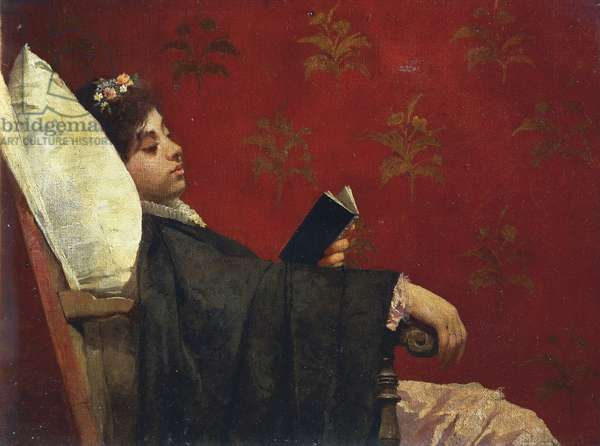The Reader, by Gioacchino Toma, 1870-1875, oil on canvas