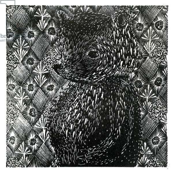 Ursus arctos ssp. domesticus, 2013 (wood engraving on paper)