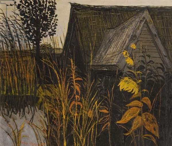 Thatched Barn and Sunflower, 1958 (oil on board)