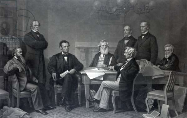 Re-enactment of Abraham Lincoln signing the Emancipation Proclamation, 1866