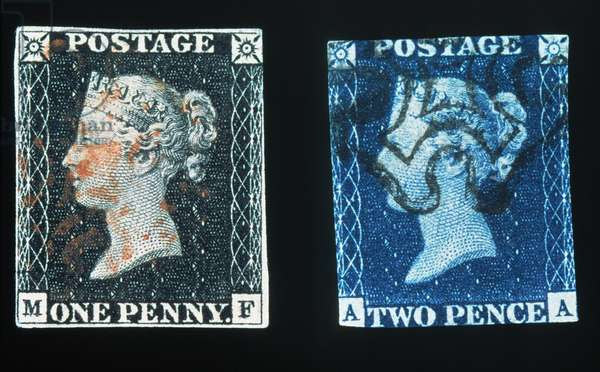 FIRST POSTAGE STAMPS The 'Penny Black' (left), the world's first adhesive postage stamp, issued by Great Britain on May 6, 1840; and the 'Two Penny Blue', released two days later, both showing the profile of the young Queen Victoria.