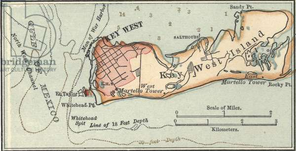 Map of Key West Island, Florida