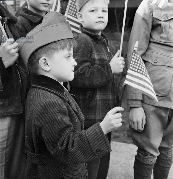 Children at Flag Dedication Ceremony, Chicago, Illinois, USA, November 1942