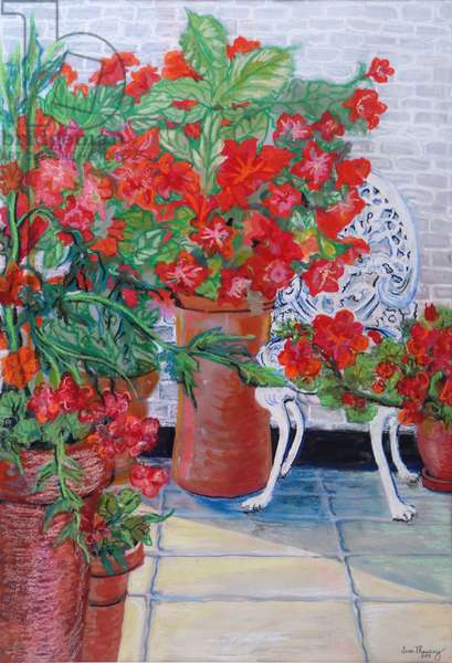 Geraniums and Petunias on the Terrace, 2011, (Gouache on paper)