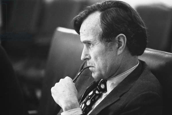 CIA Director George H W Bush in a meeting following assassination in Beirut