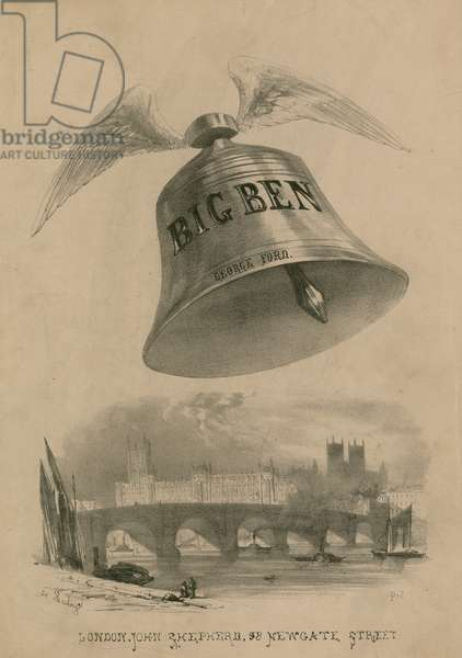 Big Ben with wings flying over London (engraving)
