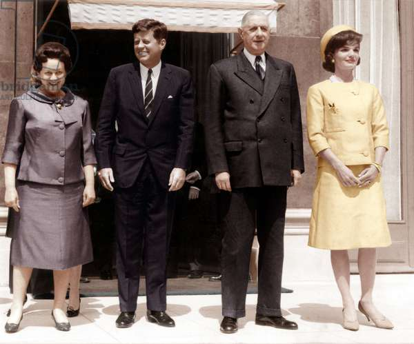 American President John Kennedy at Elysee Palace May 31, 1961 With his Wife Jackie (Dressed By Oleg Cassini, Hat By Roy Halston Frowick ) and French President Charles De Gaulle and his Wife Yvonne (photo)