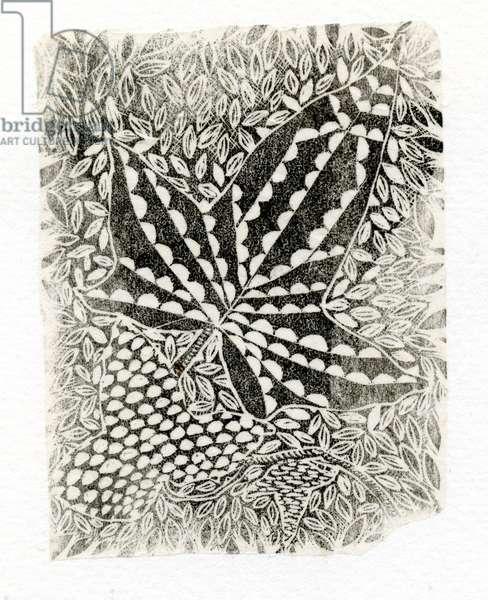 Ivy, 2014, (wood engraving on paper)