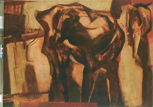 Two Cows, 1961 (oil on board)