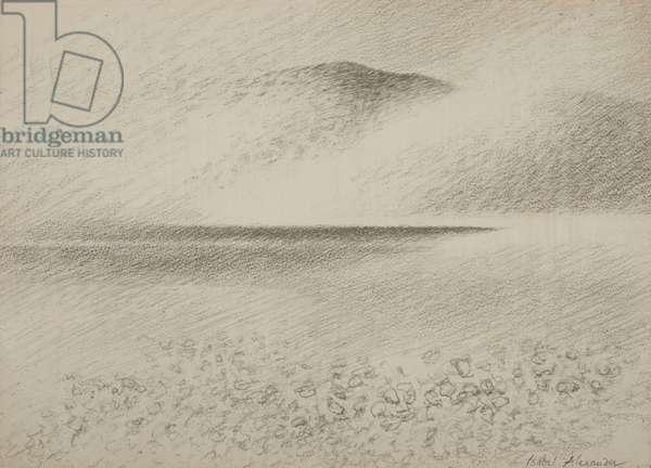 Rain over Rum, c.1979 (pencil on paper)