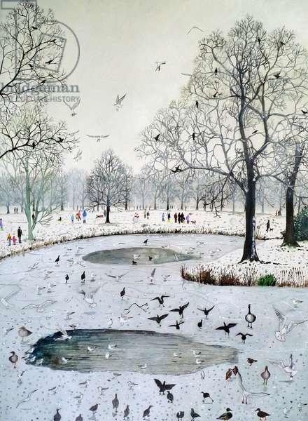 Feeding Birds on Frozen Lake, 2012 (w/c & acrylic on paper)