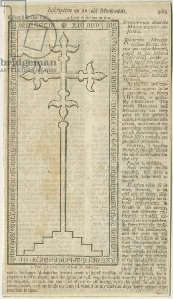 Lichfield - Monumental slab of Richard Mercator: woodcut engraving, nd [?18th cent] (print)