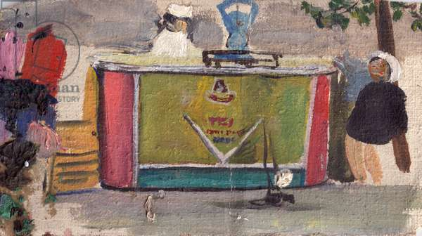 Street Vendor in Moscow, 1964 (oil on canvas)