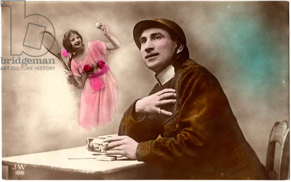 Soldier with Hand to Heart, Woman with Tennis Racquet, World War I, Hand-Colored Postcard, c.1915