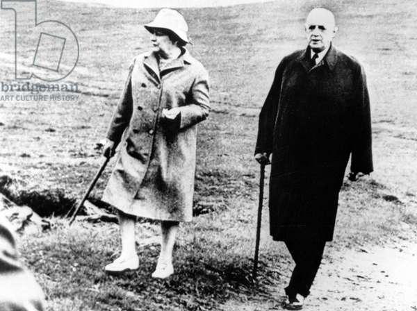 General Charles de Gaulle and his wife Yvonne during holidays in Ireland May 04, 1969