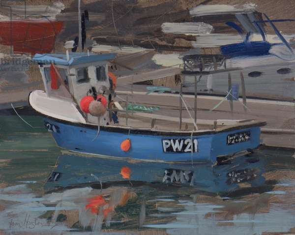 Blue boat with red flag, Padstow, January