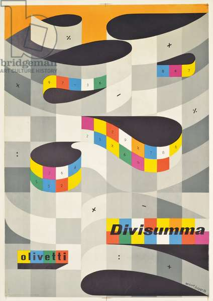 Poster advertising the calculating machine 'Olivetti Divisumma', 1953 (colour lithograph)