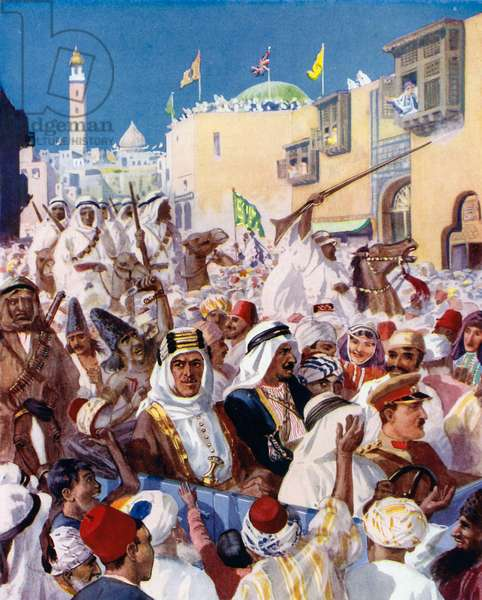 Lawrence of Arabia's ride through the liberated city of Damascus (colour litho)