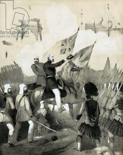 Indian Mutiny 1857-1859, also known as the Sepoy Mutiny or the Great War of Independence: Robert Cornelis Napier (1810-90) British military commander, making triumphant entry into Delhi. Cover of sheet music of The Battle March of Delhi. Tinted lithograph c1860.