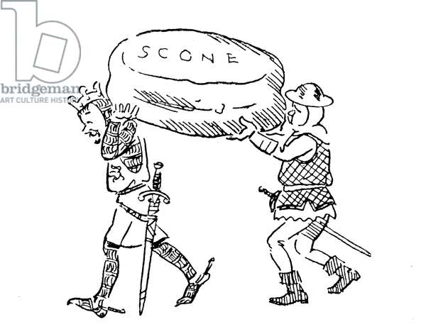 King Edward I stealing the Stone of Scone (lithograph)