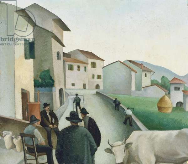 Humble life, ca 1920, by Guido Ferroni (1888-1979), oil on canvas. Italy, 20th century.