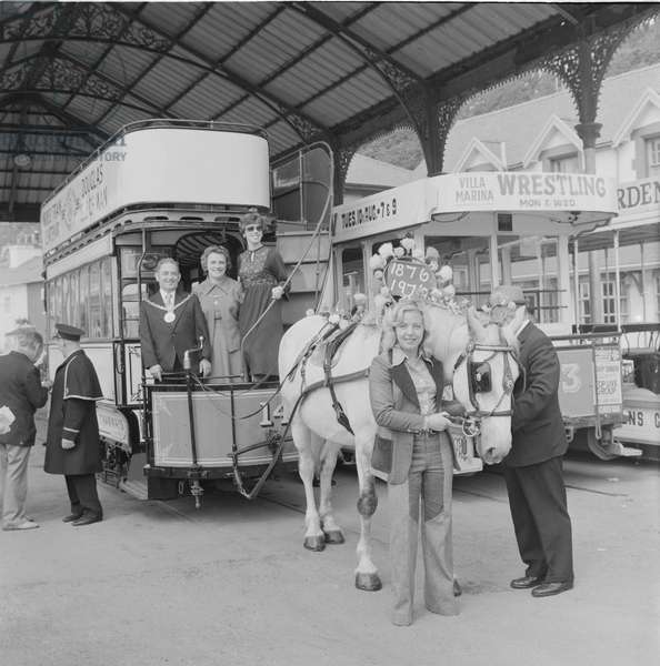 Horse tram centenary celebrations, August 1976 (b/w photo)