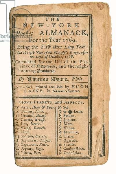 American Revolution, New York Pocket Almanac For 1769