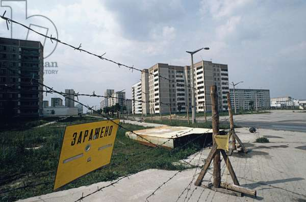 Barbed-wire entanglement in a street of Pripyat near Kiev after the Chernobyl nuclear plant disaster of April 26, 1986. The sign says: