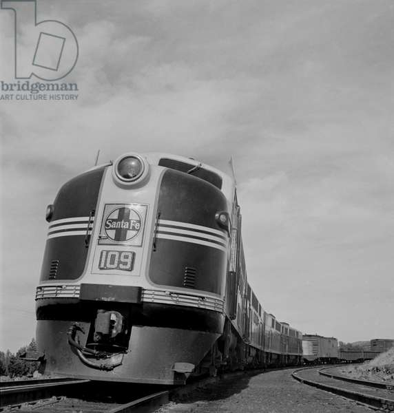 Diesel Freight Train on Atchison, Topeka and Santa Fe Railroad between Winslow and Seligman, Arizona, March 1943