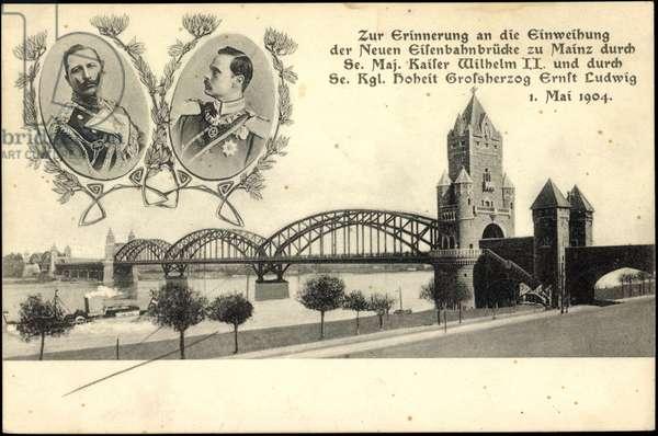Kaiser Wilhelm II, Ernst Ludwig v Hesse, Mainz, Bridge