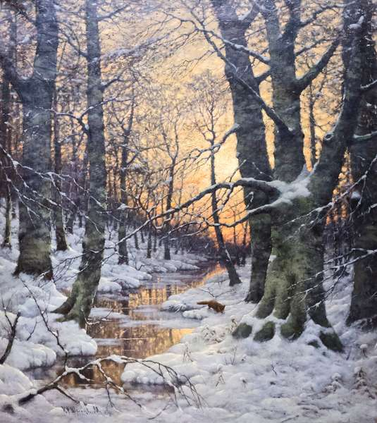 Snowy landscape (oil on canvas)