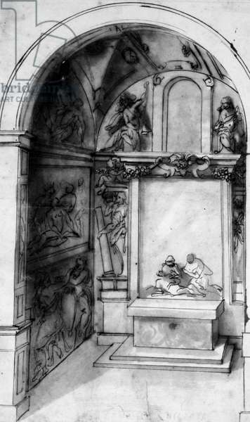 A Design for a Chapel decorated with frescoes and an altar with a Lamentation, the Annunciation above (black chalk, pen & ink with wash on paper)