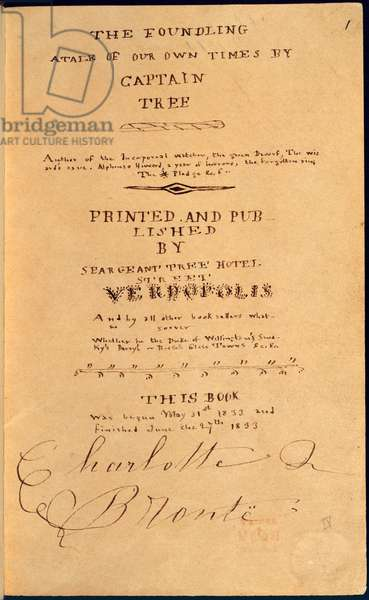Title Page of 'The Foundling, A Tale of Our Own Times by Captain Tree', by Charlotte Bronte, 1833 (litho)